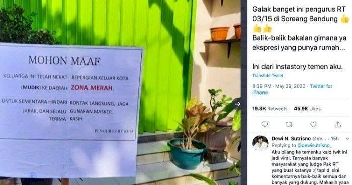 Viral! Warga Nekat Mudik di Zona Merah, Rumahnya Dipasang Pengumuman oleh Pak RT