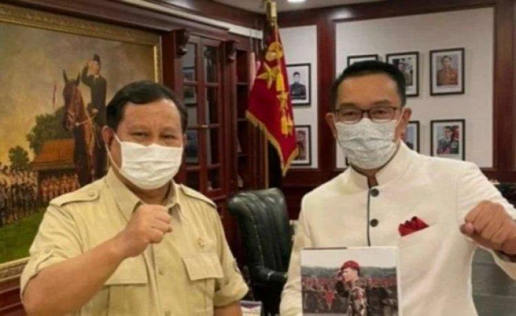 Menhan Prabowo Disambangi Ridwan Kamil, Ngobrol Politik: Obrolan Politik lebih kepada Komitmen Gerindra....