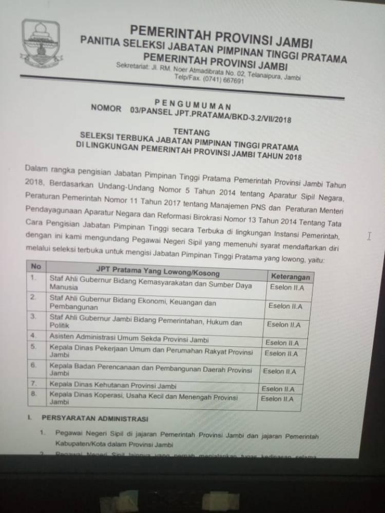 Lelang Jabatan Pemprov Jambi Dibuka, Ini Dia Daftar Jabatannya