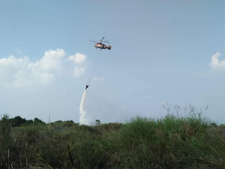 Helikopter Diturunkan Padamkan Kebakaran Dua Hektare Lahan di Seberang Kota Jambi