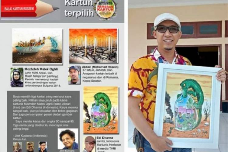 "Edi Dharma Kartunis Jambi Juara III Kompetisi Internasional ""National Travel Cartoon 2019"""