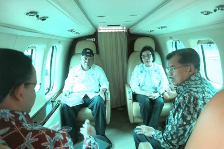 Jusuf Kalla dan Anies Tinjau Titik Kemacetan Jabodetabek dengan Heli