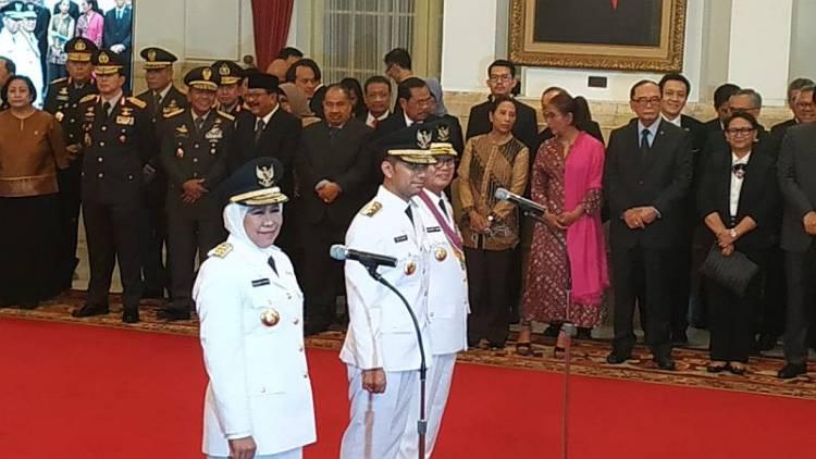 Sebelum Dilantik Khofifah, Emil dan Fachrori Ikuti Kirab dipimpin Jokowi