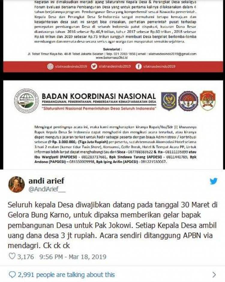 Di Twitter, Andi Arief Sebut Seluruh Kepala Desa Dipaksa Beri Gelar untuk Jokowi