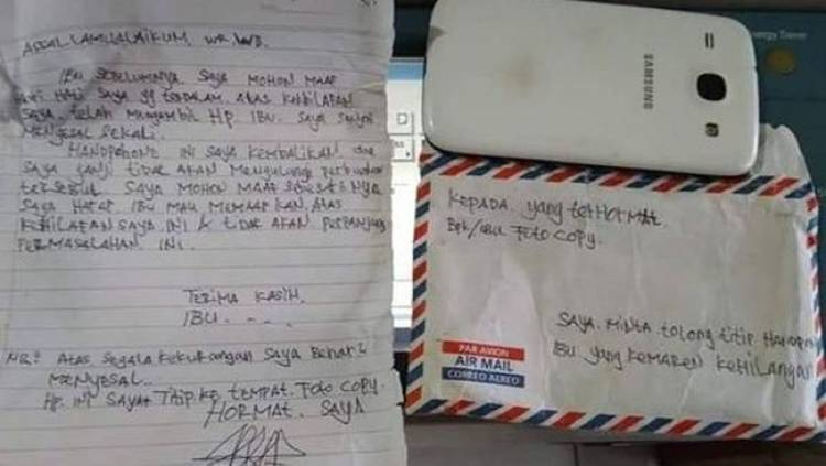 Viral! Maling Insyaf dan Kembalikan HP Korban Serta Surat