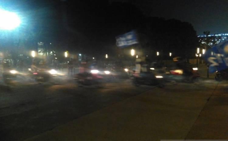 Pendukung Prabowo-Sandi Pawai Kendaraan Bermotor Sebelum Masuk GBK
