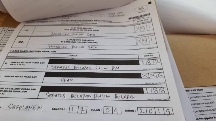TPS 14 Suka Sari Sarolangun Jokowi-Prabowo Imbang