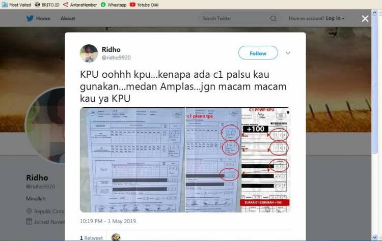 Duh!! Situng KPU Disusupi C1 Palsu Kok Bisa Ya, Suara Jokowi Naik di Medan