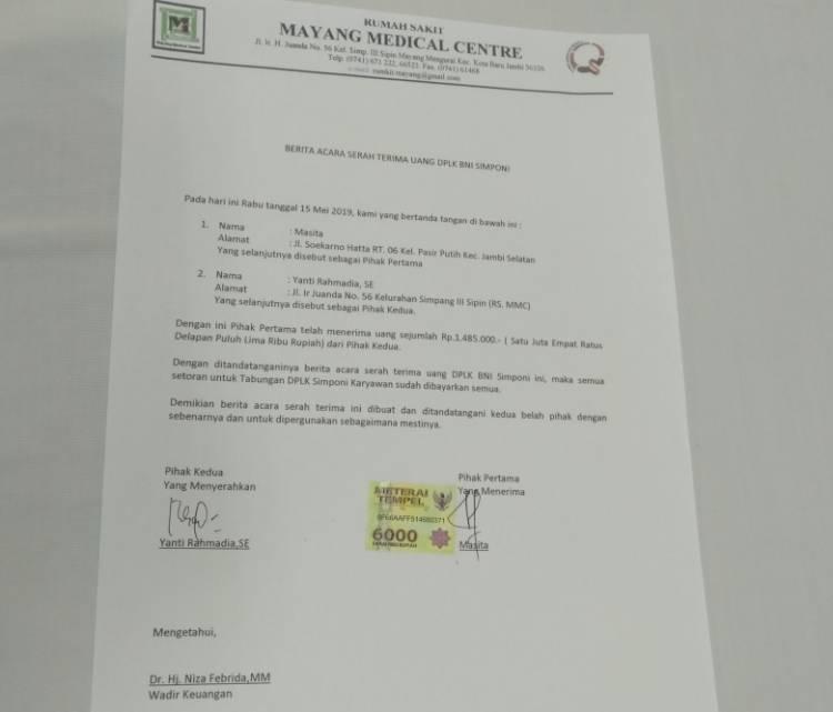 Penuhi Janji, MMC Berikan Uang Symponi Kepada 6 Karyawan