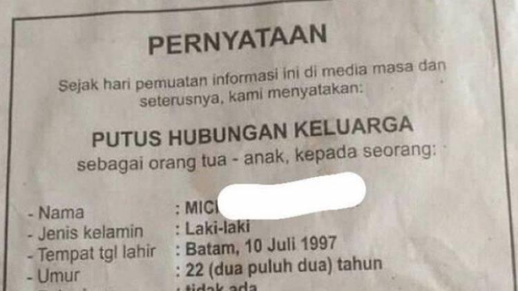 Viral! Pemuda Ini Dicoret dari KK Keluarga dan Dipublikasikan di Koran