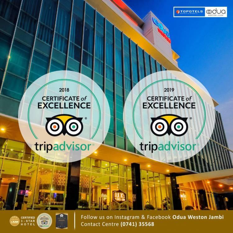 Dua Kali Raih Certificate of Excellence Tripadvisior, Odua Weston Jambi Berkomitmen Jadi Hotel Terbaik di Kota Jambi
