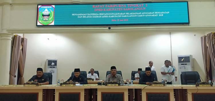 Ketua DPRD Sarolangun Pimpin Paripurna Penyampaian Ranperda Pertanggungjawaban Pelaksanaan APBD 2018