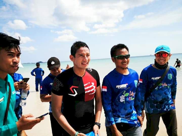 Jadi Peserta Belitung Triathlon 2019, Sandiaga Uno Tetap Menarik Perhatian
