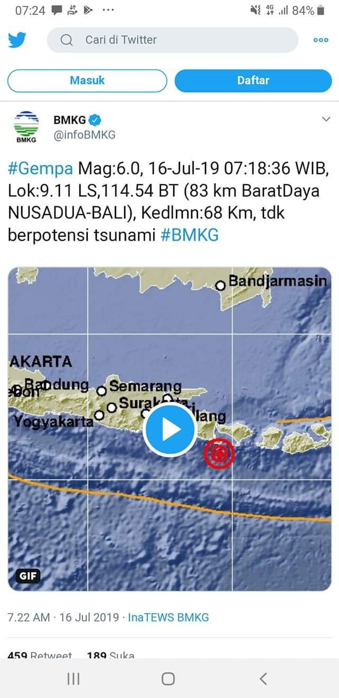 Gempa Guncang Bali 6 SR Pagi Ini