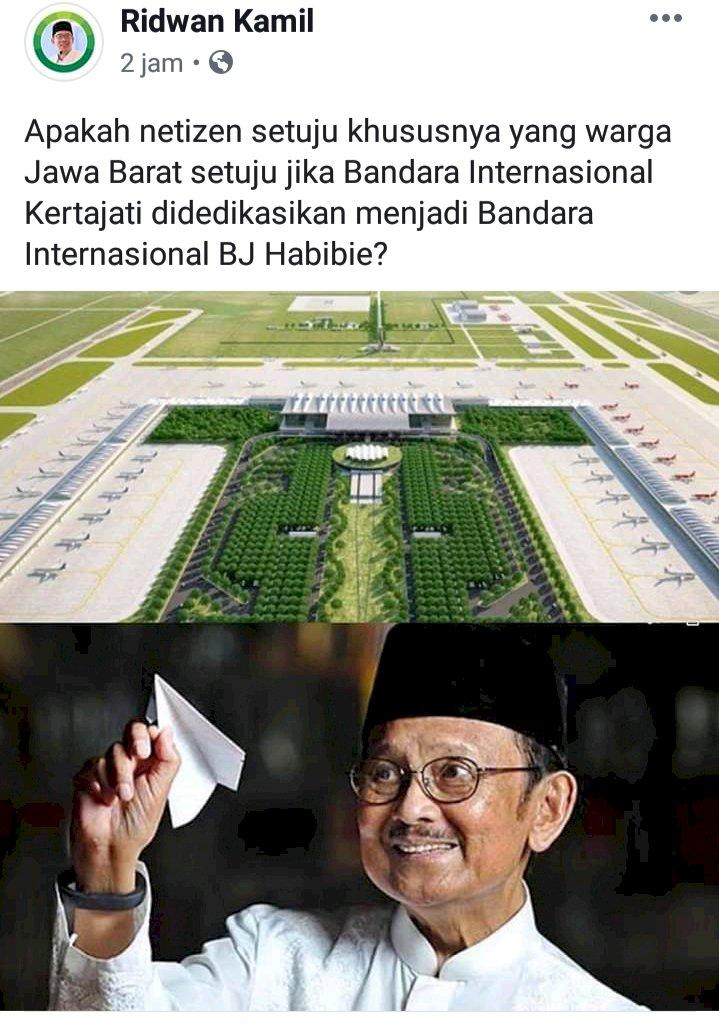 Ridwan Kamil Usulkan Kertajati Jadi Bandara BJ Habibie, Anda Setuju?