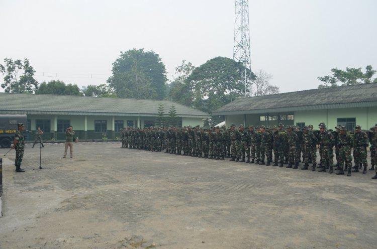 Satgasgab Karhutla Jambi Dapat Bantuan 100 Personel PPRC dari Yonif 144/JY