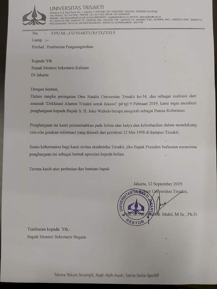 Ramai di Medsos! Surat Trisakti akan Beri Jokowi Gelar Putera Reformasi
